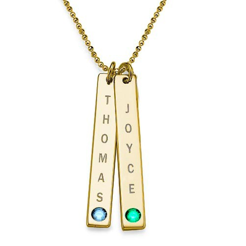 Engraved Vertical Bar Necklace with Birthstone