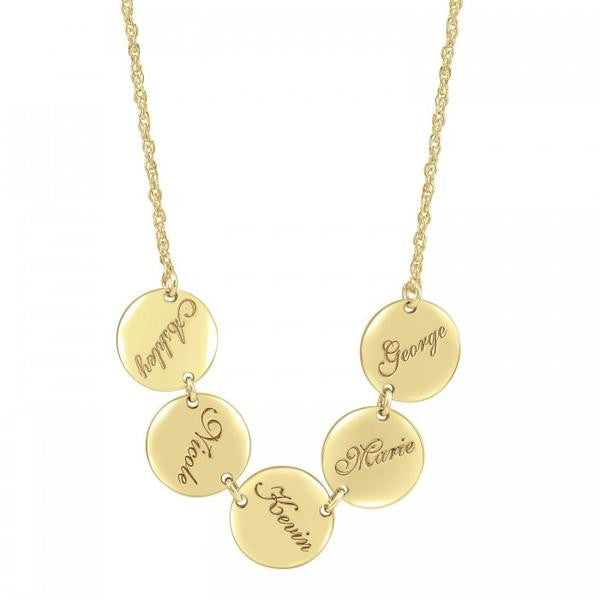 Engraved Family Name Disc Necklace Apparel & Accessories > Jewelry > Necklaces - 1
