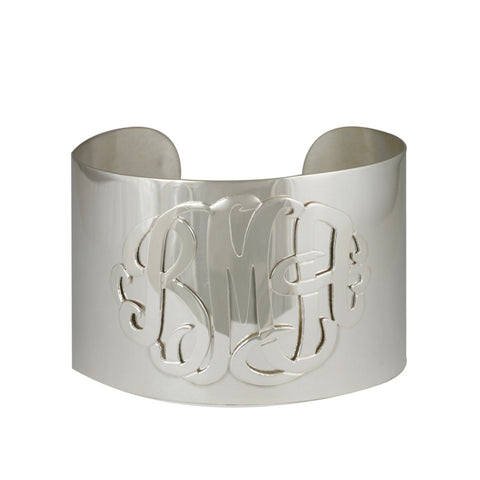 Sterling Silver Monogram Wide Cuff Bracelet by Purple Mermaid Designs Apparel & Accessories > Jewelry > Bracelets