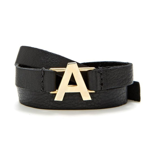 Lisa Stewart Leather Wrap Initial Bracelet 4