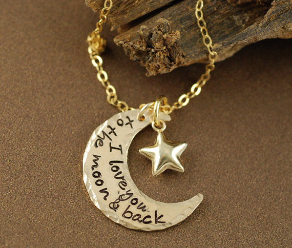 I Love You To The Moon and Back Necklace Apparel & Accessories > Jewelry > Necklaces - 1