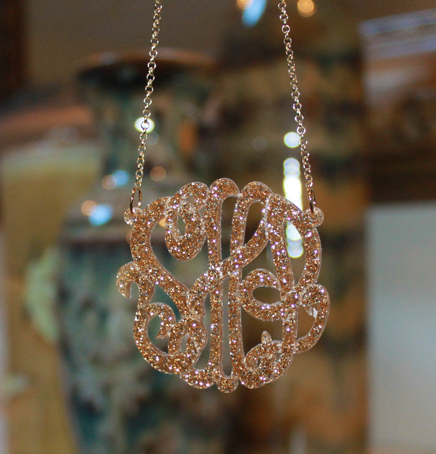 Acrylic Glitter Monogram Necklace by Purple Mermaid Designs - 5