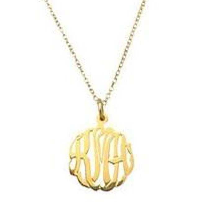 Gold Mini Monogram Necklace-Purple Mermaid Designs Apparel & Accessories > Jewelry > Necklaces - 1
