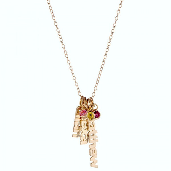 Gold Hanging Name Game Birthstone Necklace Apparel & Accessories > Jewelry > Necklaces - 2
