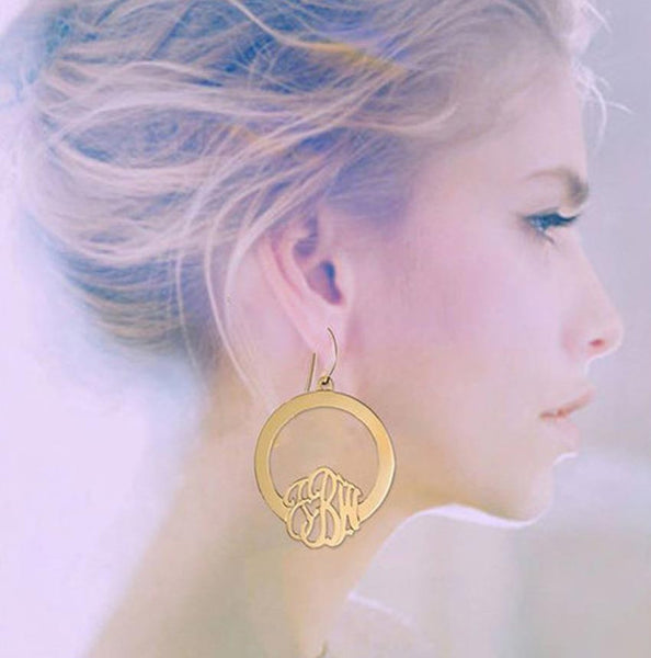 Jane Basch Hoop Monogram Earrings Apparel & Accessories > Jewelry > Earrings - 1