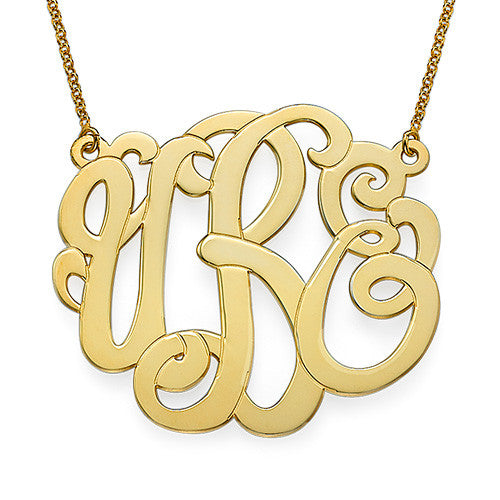 Scroll Monogram Necklace - 18K Gold Plated Apparel & Accessories > Jewelry > Necklaces - 1