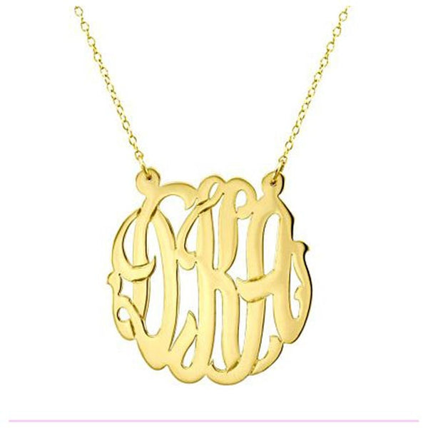 Gold Cutout Monogram Necklace - Split Chain Apparel & Accessories > Jewelry > Necklaces - 1