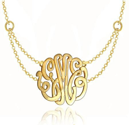 Keti Sorely Designs 24K Gold Plated Monogram Necklace on Double Chain Apparel & Accessories > Jewelry > Necklaces - 1