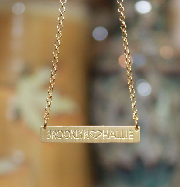 Gold Engraved Horizontal Bar Necklace-Purple Mermaid Designs Apparel & Accessories > Jewelry > Necklaces - 1