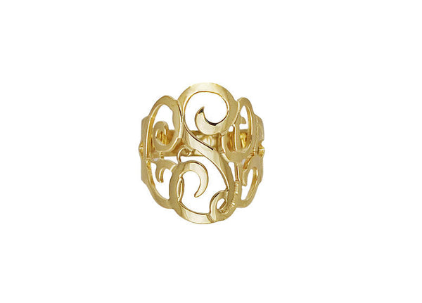 Gold Cutout Monogram Ring~3/4 Inch by Purple Mermaid Designs Apparel & Accessories > Jewelry > Rings - 2
