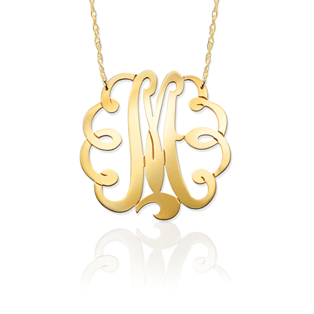 Gold Swirly Initial Necklace by Jane Basch Apparel & Accessories > Jewelry > Necklaces - 1