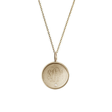 Golden Thread 14K Gold Rimmed Monogram Necklace with Diamond Apparel & Accessories > Jewelry > Necklaces - 2