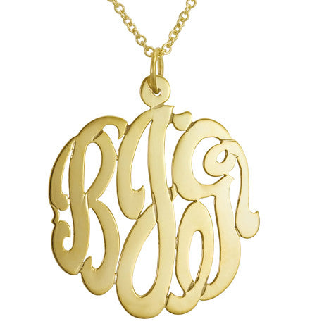 Gold Cutout Monogram Necklace Apparel & Accessories > Jewelry > Necklaces - 1