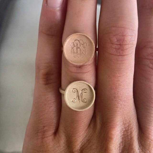 Monogram 14K Gold Disc Ring - Golden Thread Apparel & Accessories > Jewelry > Rings - 1