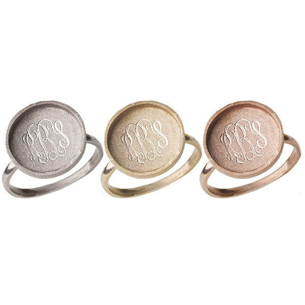 Monogram 14K Gold Disc Ring - Golden Thread Apparel & Accessories > Jewelry > Rings - 2
