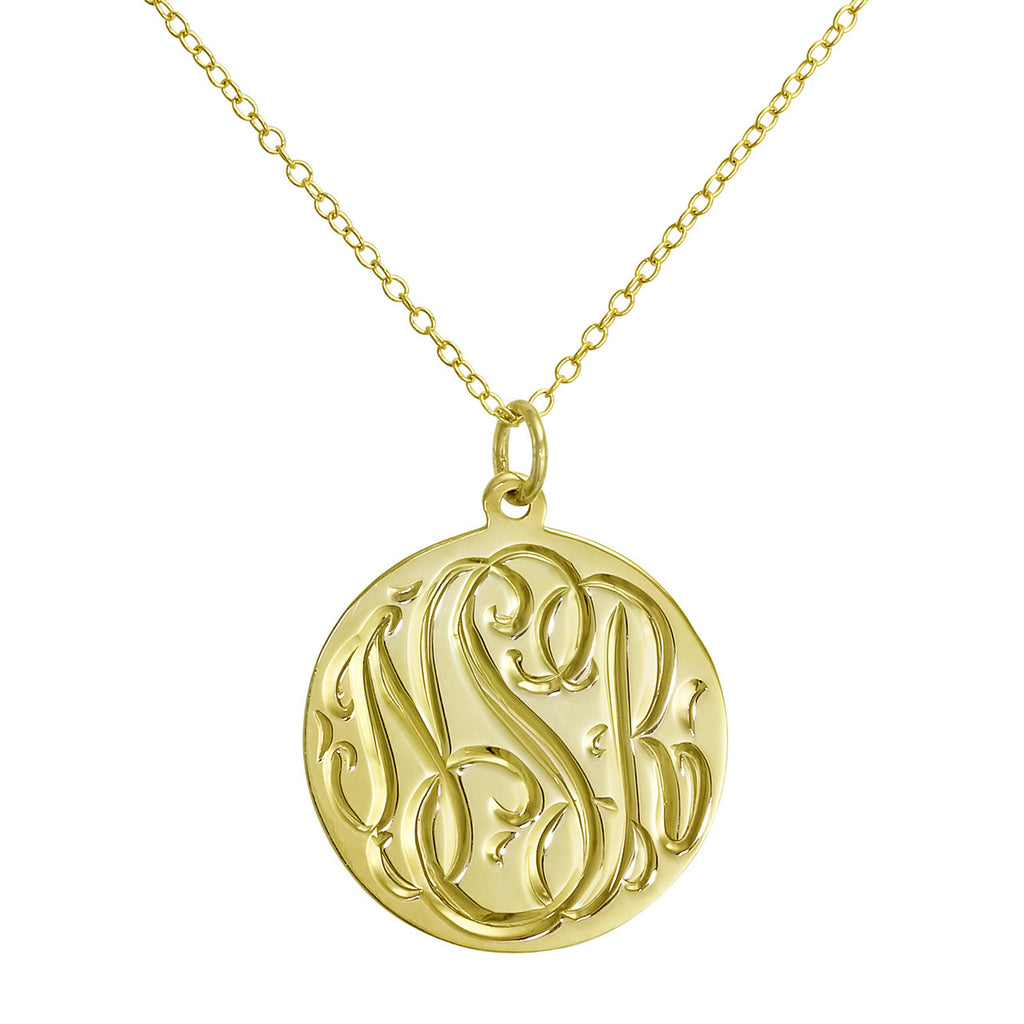 Gold Vermeil Engraved Disc Necklace Apparel & Accessories > Jewelry > Necklaces