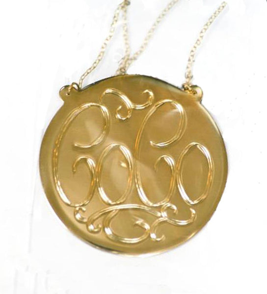 Hand Engraved Gold Disc Split Chain Necklace-Purple Mermaid Designs Apparel & Accessories > Jewelry > Necklaces - 3