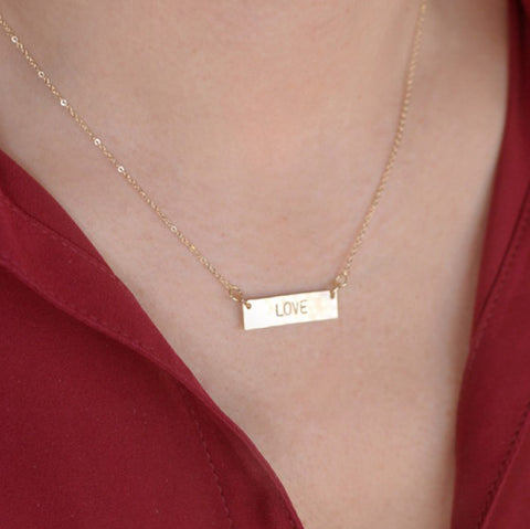 Personalized Hand Stamped Mini Horizontal Bar Necklace