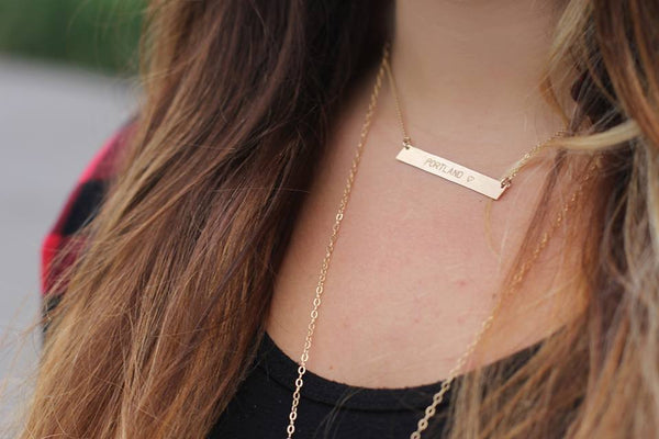 Hand Stamped Identity Gold Bar Necklace - Nashelle Apparel & Accessories > Jewelry > Necklaces - 7