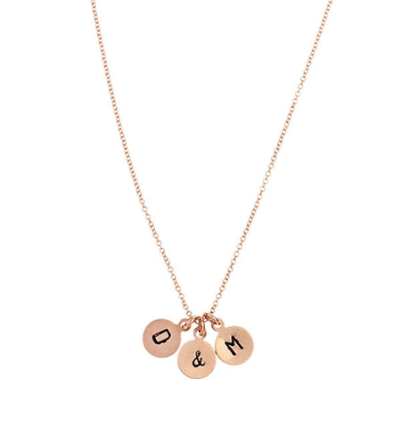 Nashelle Identity Rose Gold Triple Disc Initial Necklace Apparel & Accessories > Jewelry > Necklaces