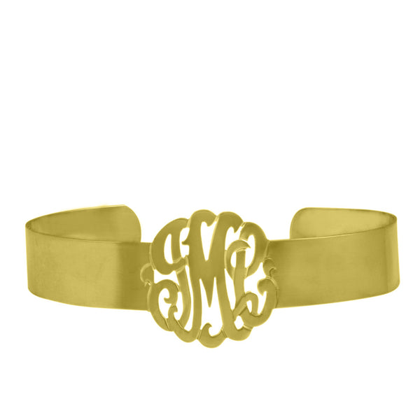 Gold Monogram Cuff Bracelet by Purple Mermaid Designs Apparel & Accessories > Jewelry > Bracelets - 1