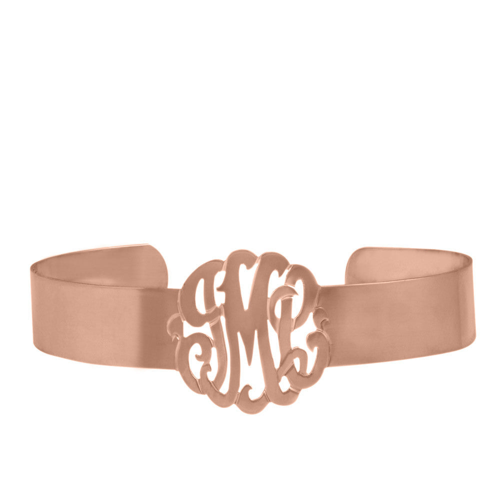 Rose Gold Monogram Cuff Bracelet by Purple Mermaid Designs Apparel & Accessories > Jewelry > Bracelets - 1