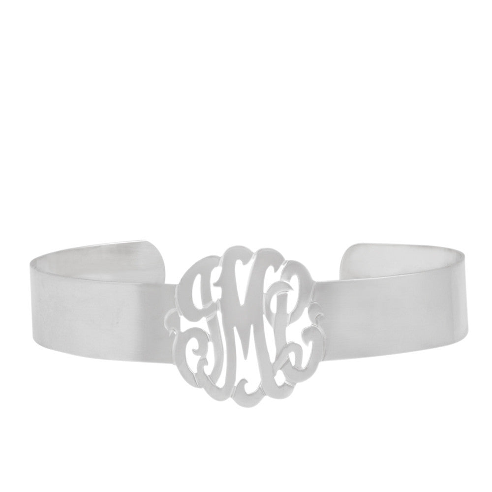 Sterling Silver Monogram Cuff Bracelet by Purple Mermaid Designs Apparel & Accessories > Jewelry > Bracelets - 1