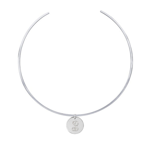 Personalized Initial Disc Choker Necklace Apparel & Accessories > Jewelry > Necklaces