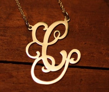 Gold Vermeil Custom Initial Necklace ~ Split Chain Apparel & Accessories > Jewelry > Necklaces