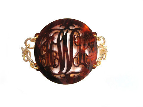 Acrylic Rimmed Script Monogram Bracelet  by Moon and Lola Apparel & Accessories > Jewelry > Bracelets - 3