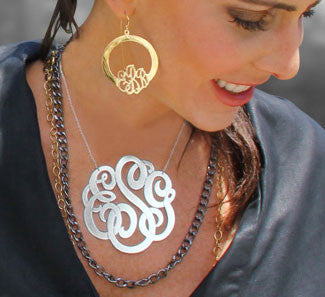Jane Basch Hoop Monogram Earrings Apparel & Accessories > Jewelry > Earrings - 3