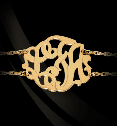 Jane Basch Script Monogram Double Chain Bracelet Apparel & Accessories > Jewelry > Bracelets