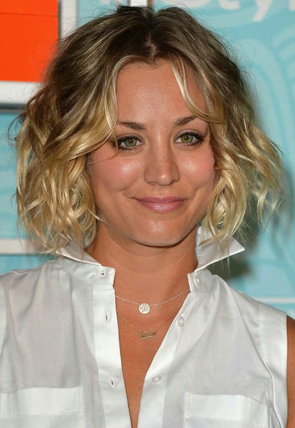 kaley cuoco two initial monogram necklace