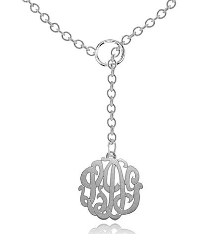 Keti Sorely Designs Sterling Silver Monogram Necklace on Lariat Chain Apparel & Accessories > Jewelry > Necklaces - 1