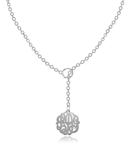 Keti Sorely Designs Sterling Silver Monogram Necklace on Lariat Chain Apparel & Accessories > Jewelry > Necklaces - 2