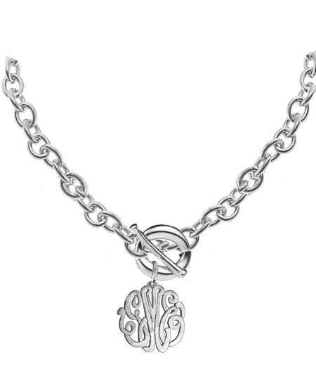 Keti Sorely Designs Sterling Silver Monogram Necklace on Toggle Chain Apparel & Accessories > Jewelry > Necklaces - 3