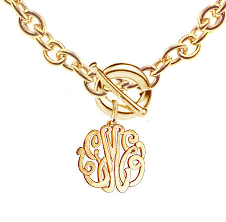 Keti Sorely Designs 24K Gold Plated Monogram Necklace on Toggle Chain Apparel & Accessories > Jewelry > Necklaces - 1