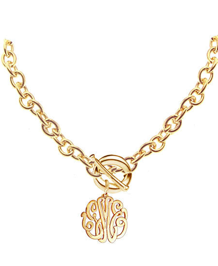Keti Sorely Designs 24K Gold Plated Monogram Necklace on Toggle Chain Apparel & Accessories > Jewelry > Necklaces - 3