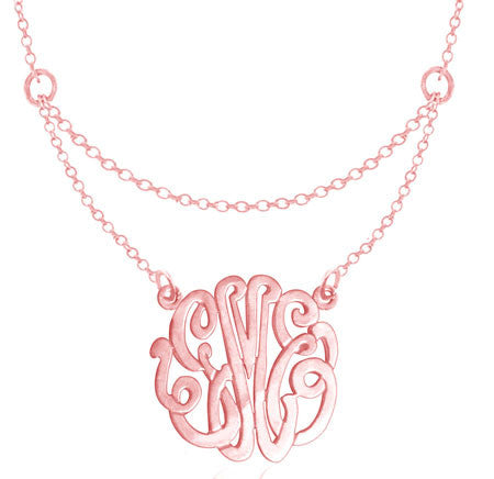 Keti Sorely Designs Rose Gold Monogram Double Chain Necklace Apparel & Accessories > Jewelry > Necklaces