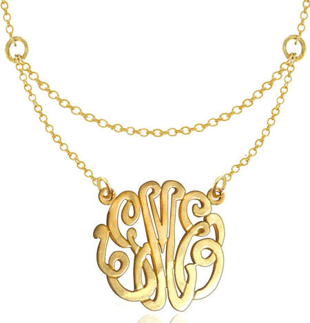 Keti Sorely Designs Gold Plated Monogram Necklace on Double Chain Apparel & Accessories > Jewelry > Necklaces