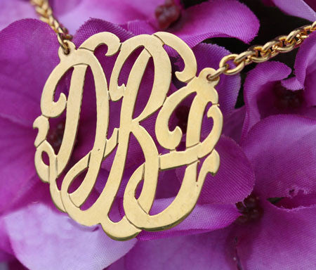 Keti Sorely Designs Medium 24K Gold Plated Monogram Necklace Apparel & Accessories > Jewelry > Necklaces - 1