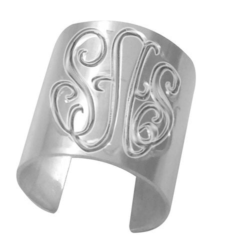 Keti Sorely Designs  Silver Hand Engraved Monogram Cuff Ring Apparel & Accessories > Jewelry > Rings - 1