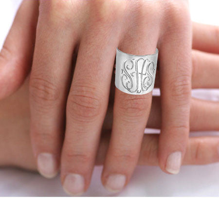 Keti Sorely Designs  Silver Hand Engraved Monogram Cuff Ring Apparel & Accessories > Jewelry > Rings - 2