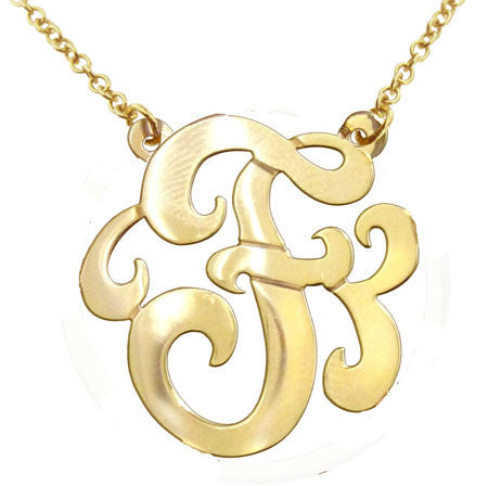 Keti Sorely Designs 24K Gold Plated Swirly Initial Necklace Apparel & Accessories > Jewelry > Necklaces - 1