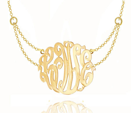 Keti Sorely Designs 24K Gold Plated Monogram Necklace on Double Chain Apparel & Accessories > Jewelry > Necklaces - 3