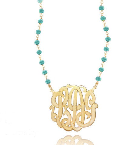 Keti Sorely Designs Gold Plated Monogram Turquoise Necklace Apparel & Accessories > Jewelry > Necklaces