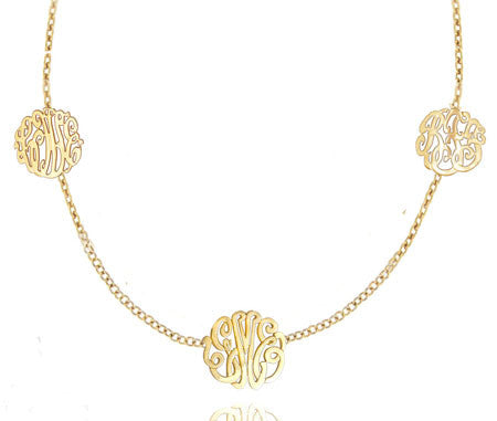 Keti Sorely Designs Gold Plated Block Monogram Necklace Apparel & Accessories > Jewelry > Necklaces - 1