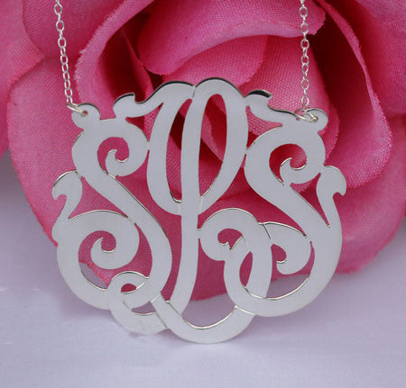 Keti Sorely Designs Sterling Silver Large Monogram Necklace Apparel & Accessories > Jewelry > Necklaces - 1