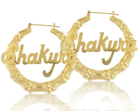 Keti Sorely Designs 24K Gold Plated Bamboo Name Earrings Apparel & Accessories > Jewelry > Earrings - 1