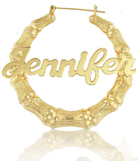 Keti Sorely Designs 24K Gold Plated Bamboo Name Earrings Apparel & Accessories > Jewelry > Earrings - 3